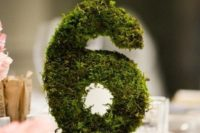 37 3D moss wedding table numbers