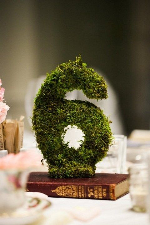 3D moss wedding table numbers