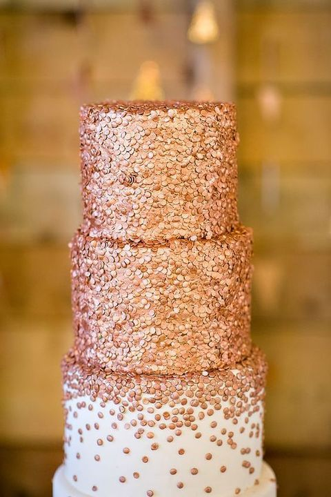 copper polka dot wedding cake