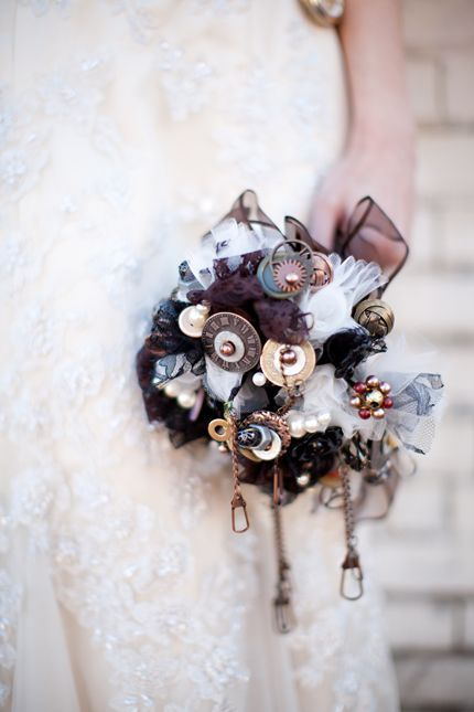 steampunk wedding bouquet with gears, pendants and clocks