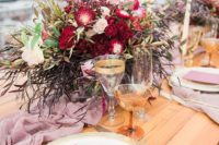38 boho rooftop wedding decor in pink and burgundy