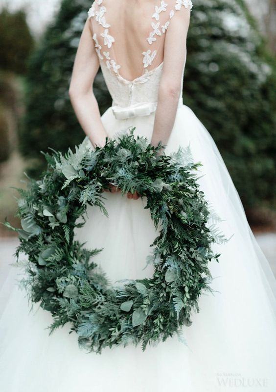 refined textural wreath for winter weddings