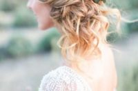 38 side updo with fresh succulents and flowers for a desert wedidng