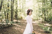 38 woodland bride going for a walk in the venue