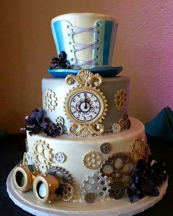 creative steampunk wedding cake with gears and a clock