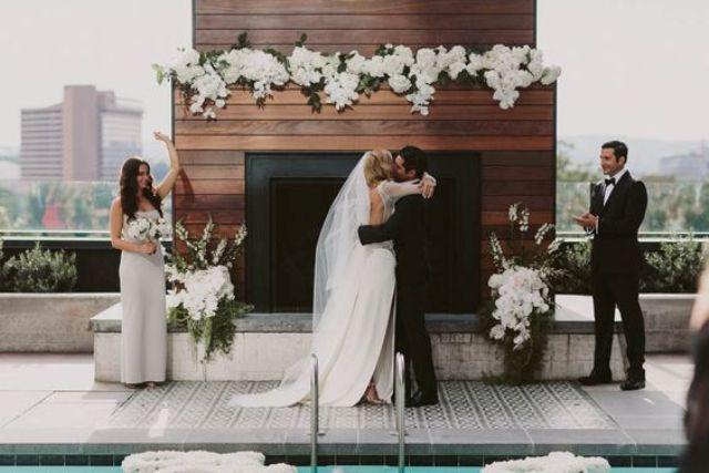 organize an elegant black and white affair on the rooftop