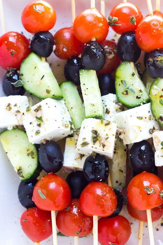 Greek salad skewers