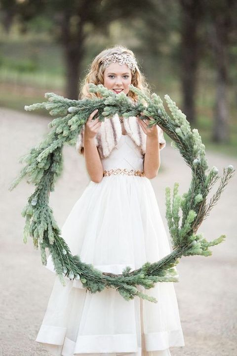 large fir winter wedding wreath for a rustic feel