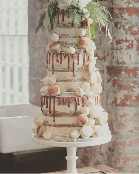 Semi Naked Copper Drip Wedding Cake With Vanilla And Coffee Macarons Meringue Kisses