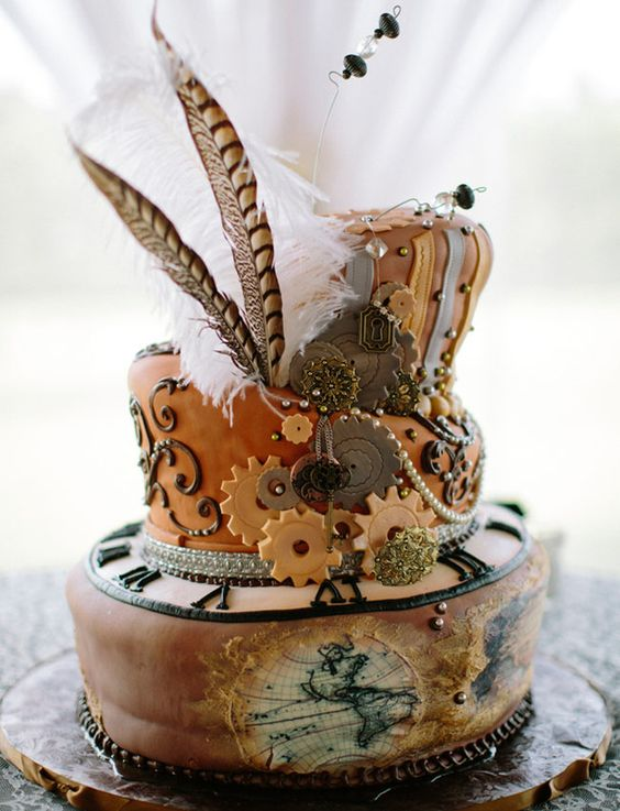 Victorian era steampunk wedding cake with feathers