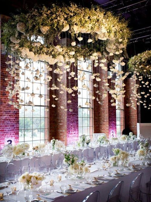 29 gorgeous wedding floral chandeliers that will blow your mind giant white flower chandelier with hanging flowers from above for an all white modern reception aloadofball Gallery