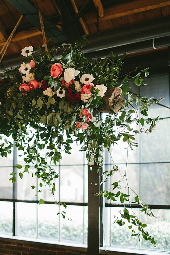 Roses Anemones And Greenery Chandelier For A Rustic Wedding