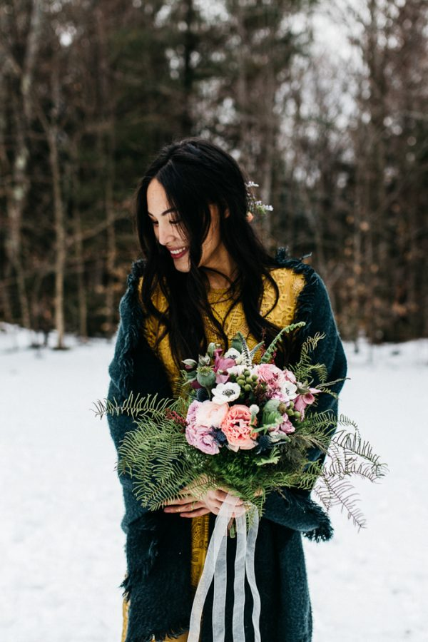 This alternative wedding shoot took place in snowy Vermont