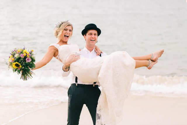 This boho beach wedding took place on a beach in Sydney