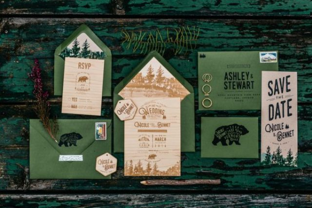 The wedding stationery was woodland-inspired