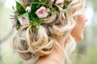 02 a crown of roses sits a top of a curled bun, with pieces pulled out here and there for an ethereal do