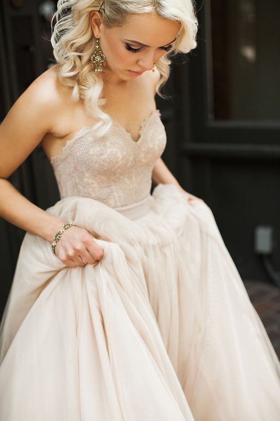 beautiful dusty pink strapless sweetheart A line wedding gown looks very girlish and glam
