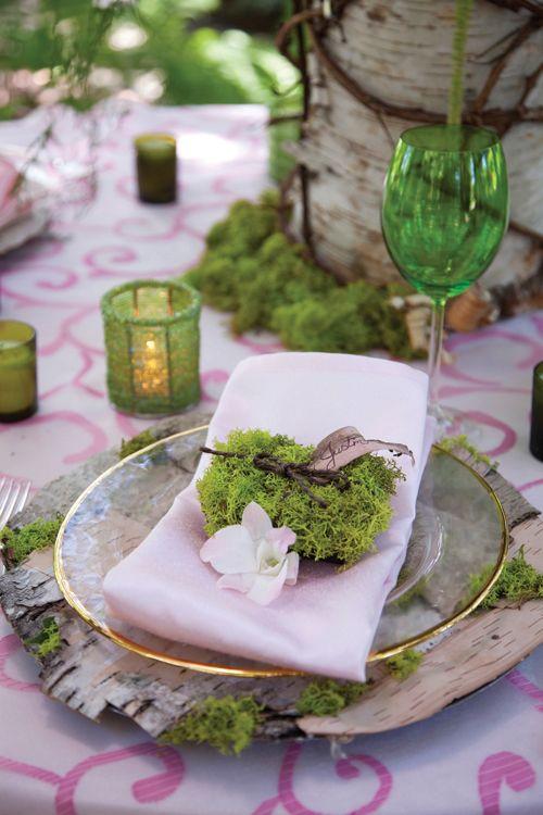 birch bark placemats, moss decor and blush napkins