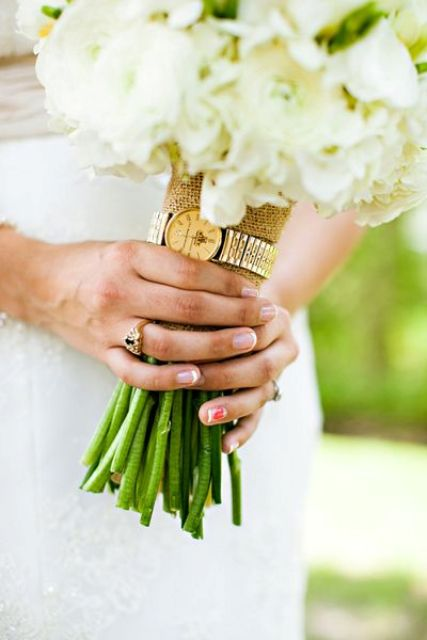 grandfather's watch attached to the bouquet