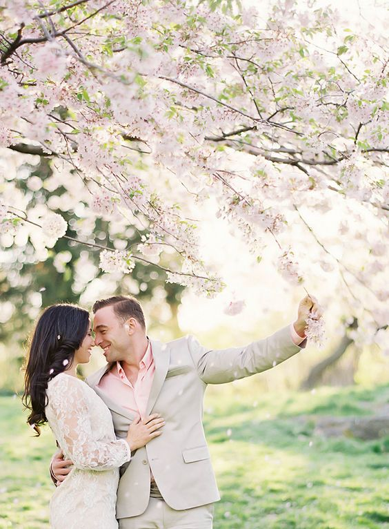 your wedding portraits will be very romantic and sweet in a cherry garden