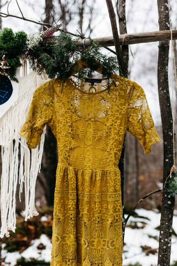 The wedding dress was an alternative one - a lace one in mustard color