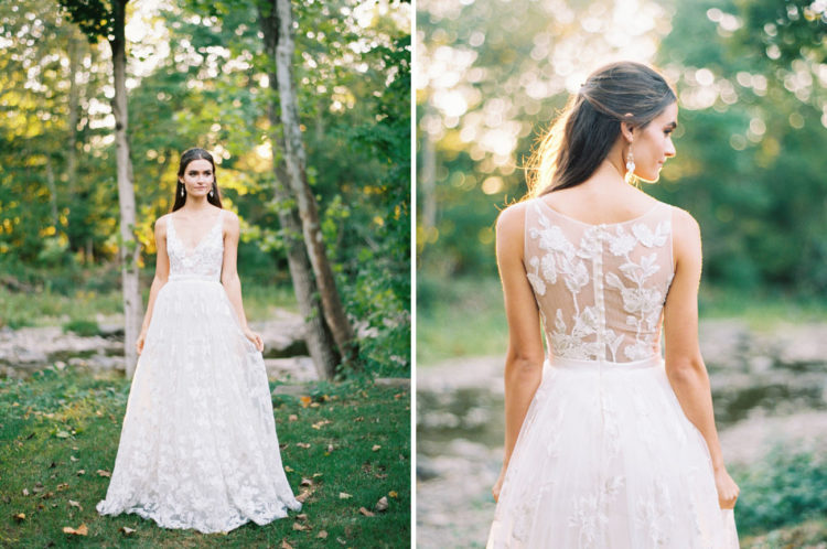 This wedding dress with botanical lace appliques on the illusion back looks very romantic