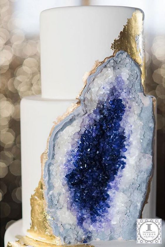 amethyst geode cake with gold leaf decor