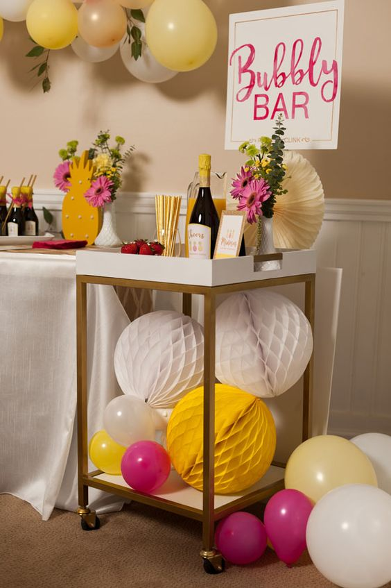 bold bubbly bar with fuchsia and yellow touches