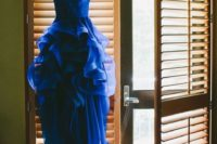 03 strapless royal blue ruffle wedding gown