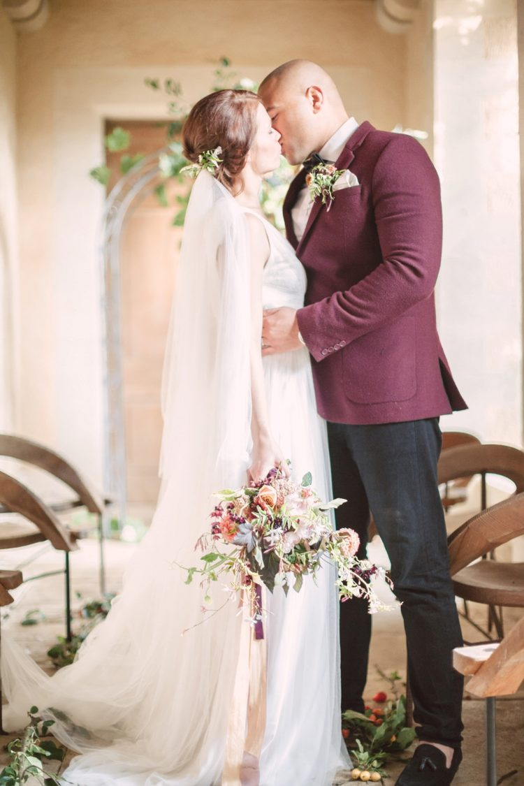 Marsala touches made this shoot bolder, and the groom wore a corresponding jacket