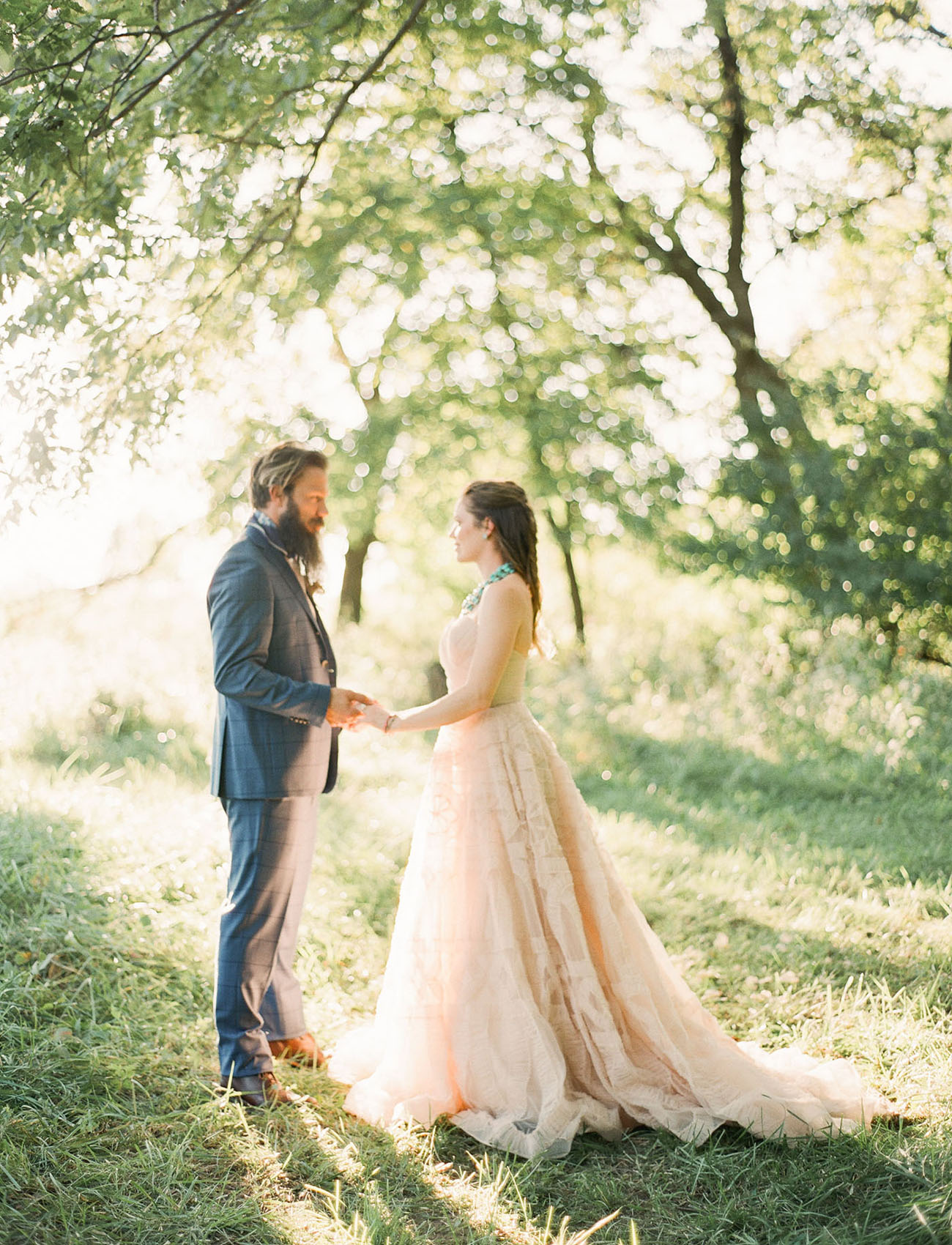 The groom rocked a cool modern suit, cognac shoes and a beard
