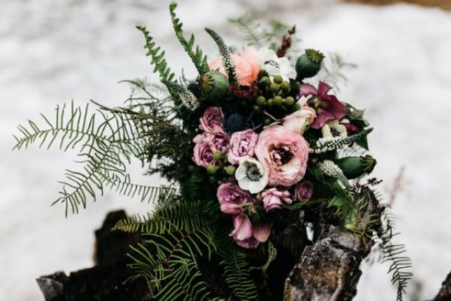 The wedding bouquet was a textural and woodland one, romantic and sweet