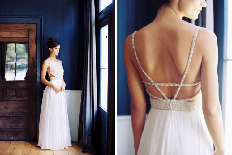 This is what is called sexy back, made with glitter straps and a halter neckline