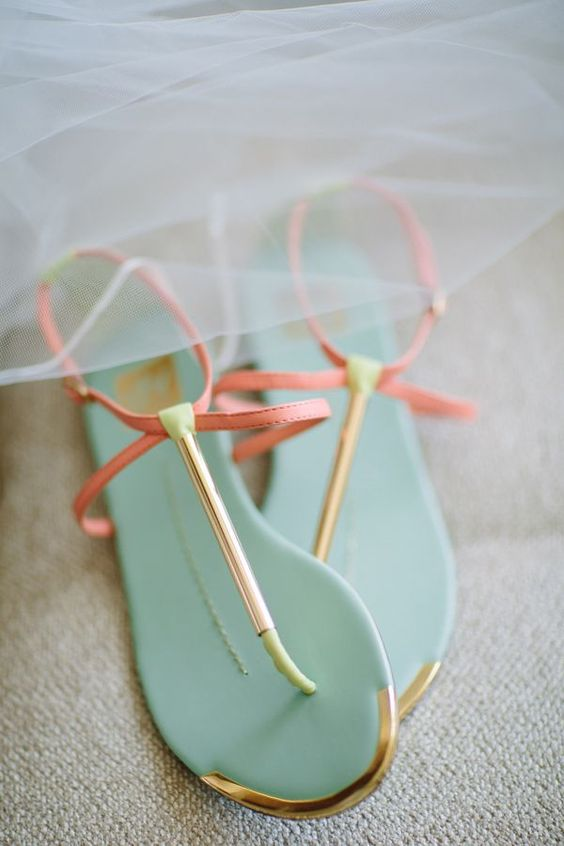 cutest mint flats with peach and gold rims