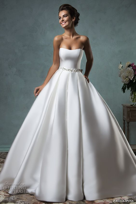 modern strapless A-line gown with an embellished sash