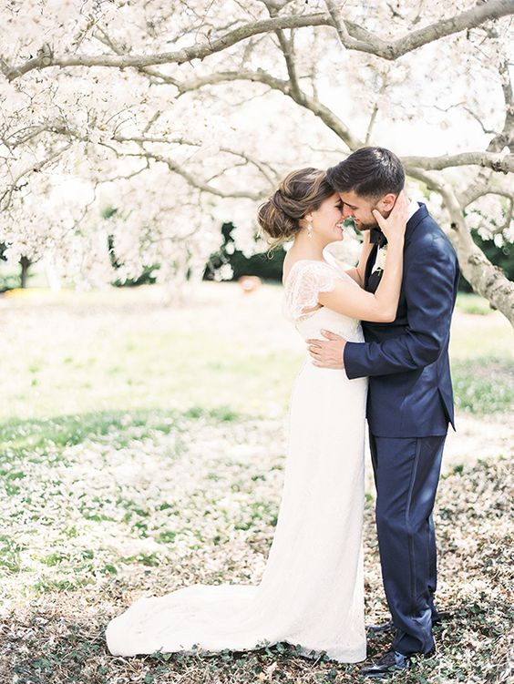 romantic cherry orchard wedding portrait