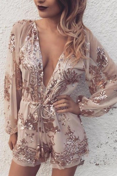 rose gold sequined romper with a plunging neckline
