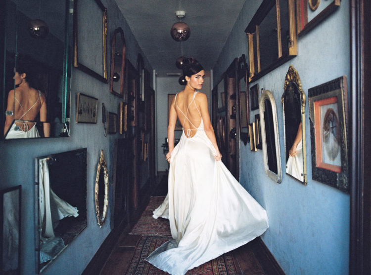 Light and airy gown ith a strap back is ideal for hot summer days