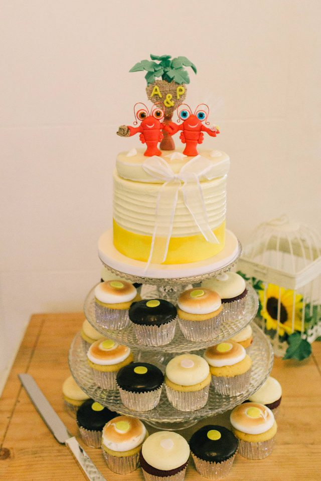The cake toppers were lobsters because they have one partner for the whole life-time