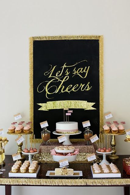 add some gold and glitter to your dessert bar to make it fun