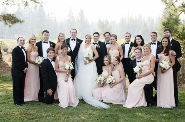 black tuxedos for groomsmen and blush bridesmaids