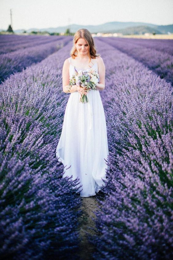 go to a lavender field to take photos or to have your ceremony in a romantic place