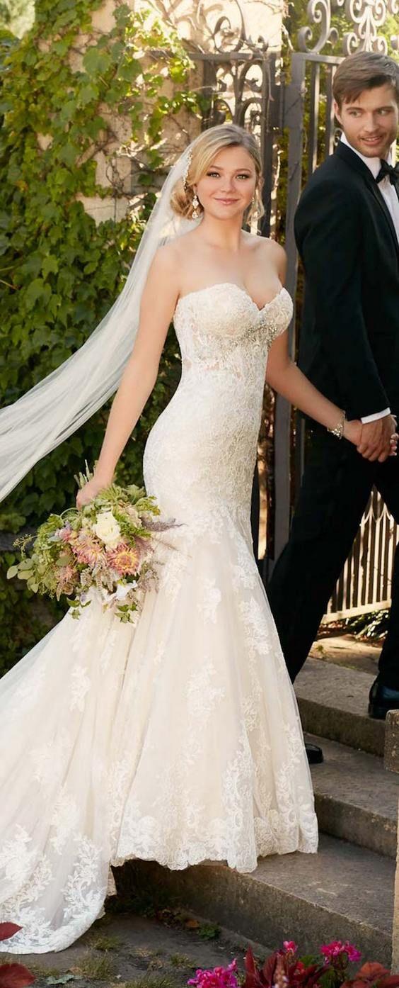 sweetheart mermaid lace wedding dress