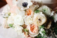 06 The bridal bouquet was delicate and sweet, with blush peonies and ivory flowers