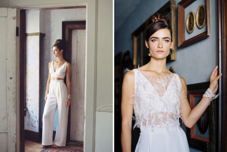 Two trends in one - a bridal pantsuit and separate with a simple modern look