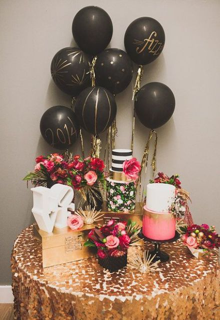 balloons and glitz for dessert table decor