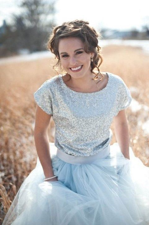 bridal separate with a silver sequin top and a tulle blue skirt