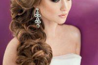 06 elegant side swept curls with side bangs
