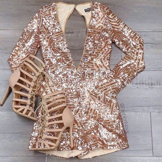 rose gold sequin romper with a plunging neckline and a cutout back