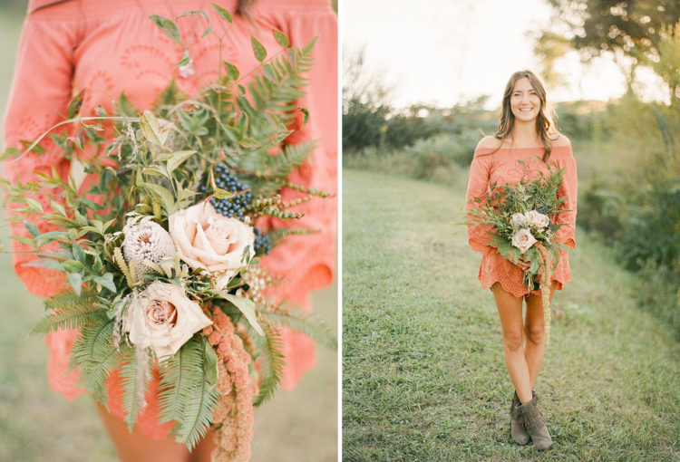 The bridesmaids' bouquets were also boho-inspired and a bit messy